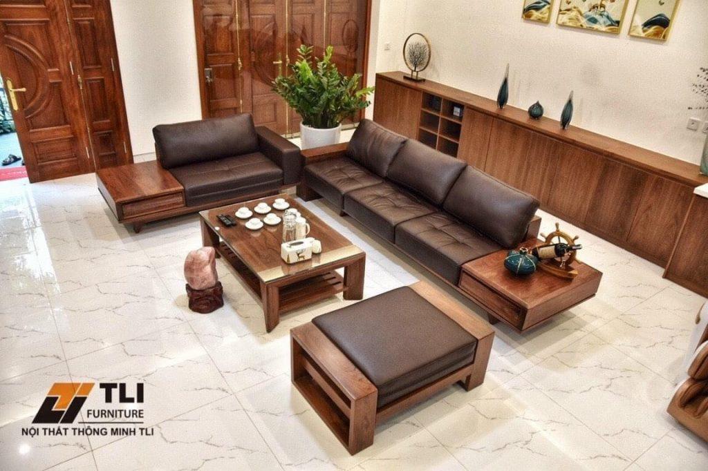Sofa da khung gỗ óc chó - Chị Hiên, Nguyễn Xiển, HN